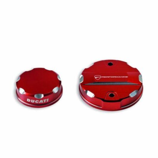 DUCATI Fék- és kuplungfolyadék tartály tetők - piros COVERS FOR BRAKE AND CLUTCH FLUID RESERVOIRS