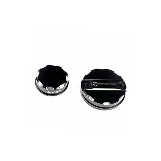 DUCATI Fék- és kuplungfolyadék tartály tetők - fekete COVERS FOR BRAKE AND CLUTCH FLUID RESERVOIRS