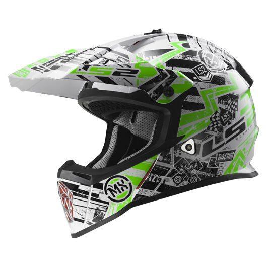 LS2 MX437 FAST GLITCH WHITE BLACK GREEN SISAK