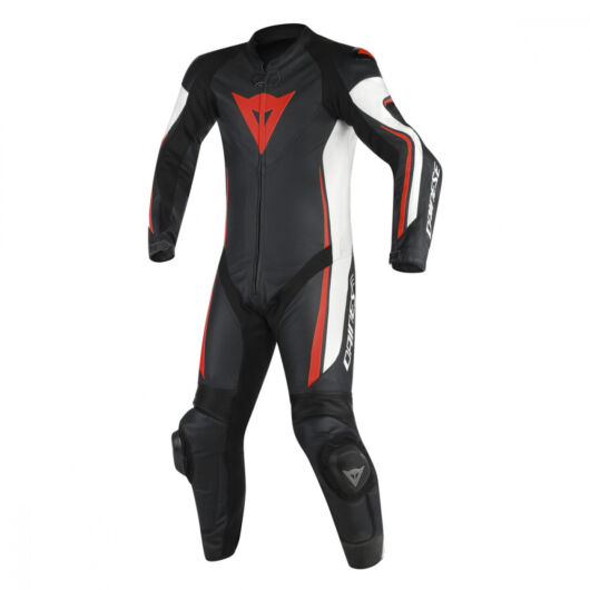 Dainese ASSEN 1 PC PERF. SUIT BLACK/WHITE/RED-FLUO