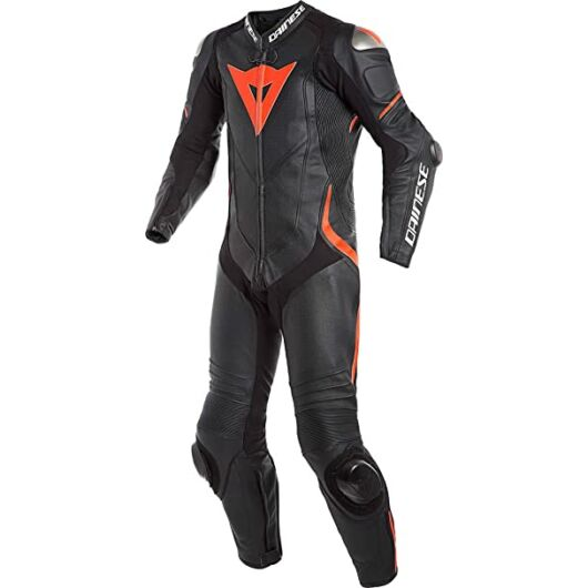 Dainese LAGUNA SECA 4 1PC PERF. LEATHER SUIT, BLACK/BLACK/FLUO-RED