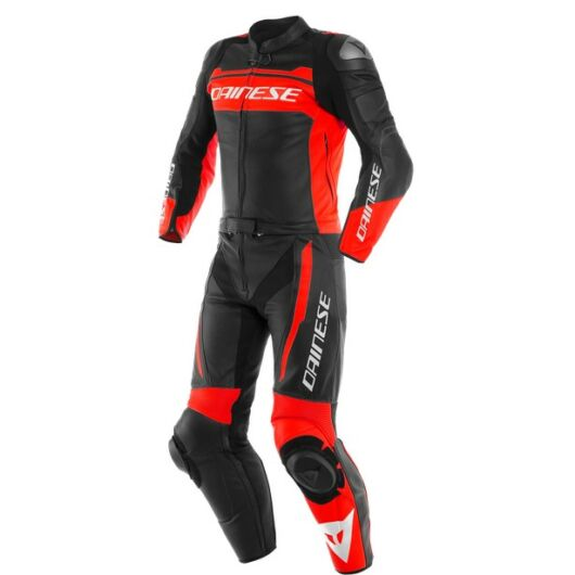 Dainese MISTEL 2PCS LEATHER SUIT, BLACK-MATT/FLUO-RED/BLACK-MATT bőr overál