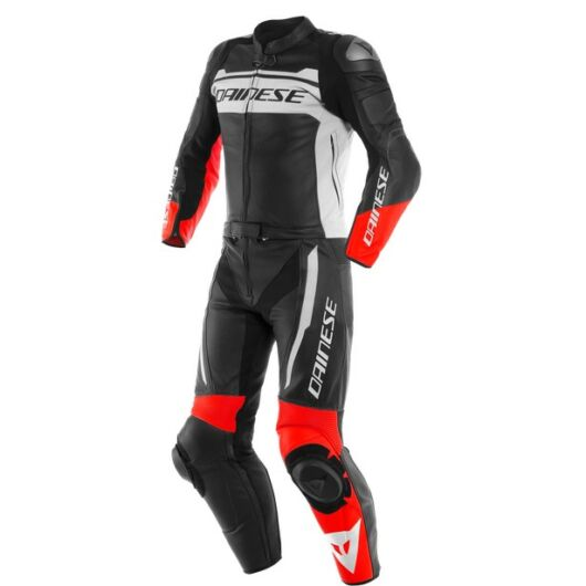 Dainese MISTEL 2PCS LEATHER SUIT BLACK-MATT/WHITE/LAVA-RED bőr overál