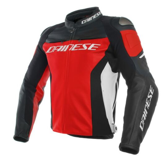 Dainese RACING 3 LEATHER JACKET RED/BLACK/WHITE bőrdzseki