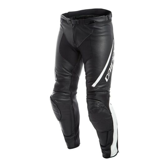 DAINESE nadrág ASSEN LEATHER PANTS, BLACK/WHITE 54