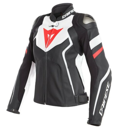 DAINESE bőrdzseki AVRO 4 LADY LEATHER JACKET, BLACK-MATT/WHITE/FLUO-RED 40