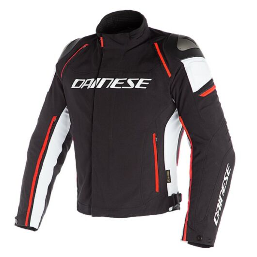 Dainese RACING 3 D-DRY JACKET BLACK/WHITE/FLUO-RED dzseki